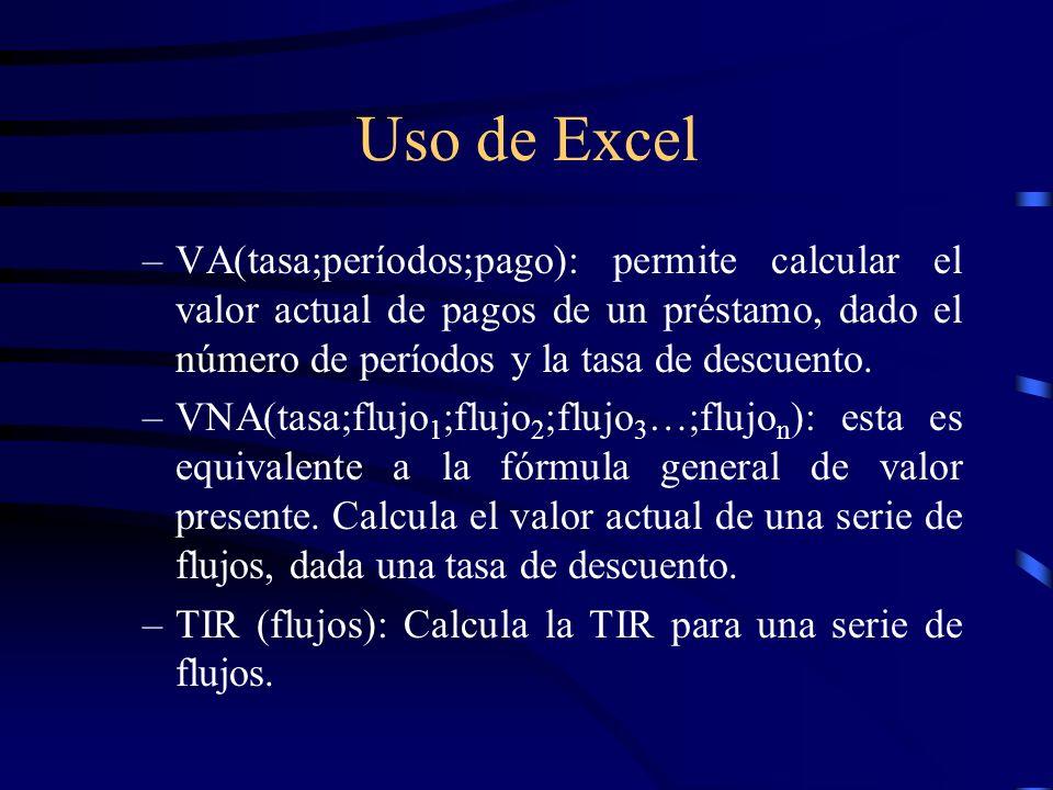 Uso de Excel –VA(tasa;períodos;pago): permite calcular el valor actual de pagos de un préstamo, dado el número de períodos y la tasa de descuento. –VN
