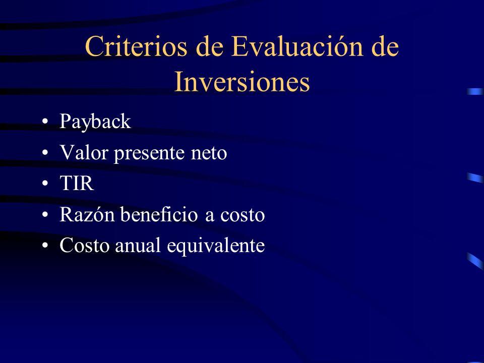 Criterios de Evaluación de Inversiones Payback Valor presente neto TIR Razón beneficio a costo Costo anual equivalente