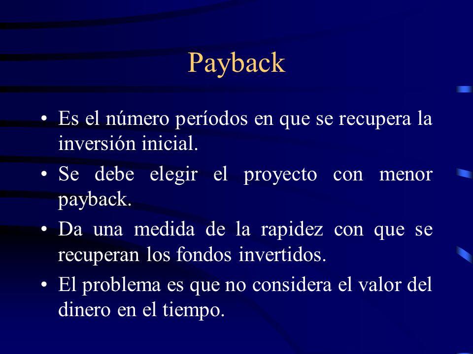 Payback Es el número períodos en que se recupera la inversión inicial. Se debe elegir el proyecto con menor payback. Da una medida de la rapidez con q