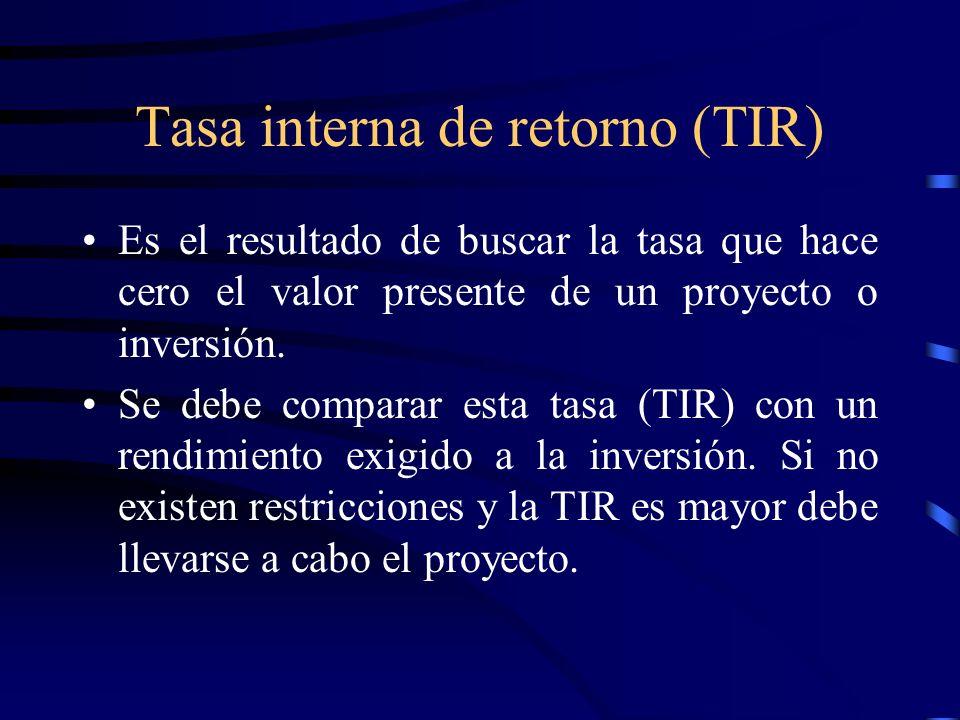 Tasa interna de retorno (TIR) Es el resultado de buscar la tasa que hace cero el valor presente de un proyecto o inversión. Se debe comparar esta tasa