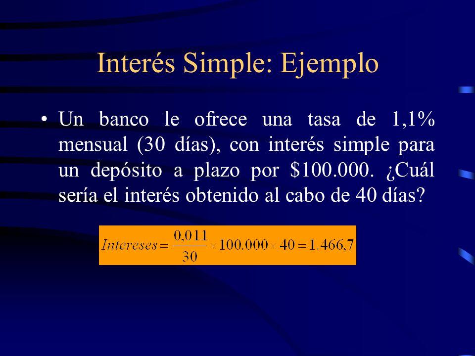 Interés Simple: Ejemplo Un banco le ofrece una tasa de 1,1% mensual (30 días), con interés simple para un depósito a plazo por $100.000. ¿Cuál sería e