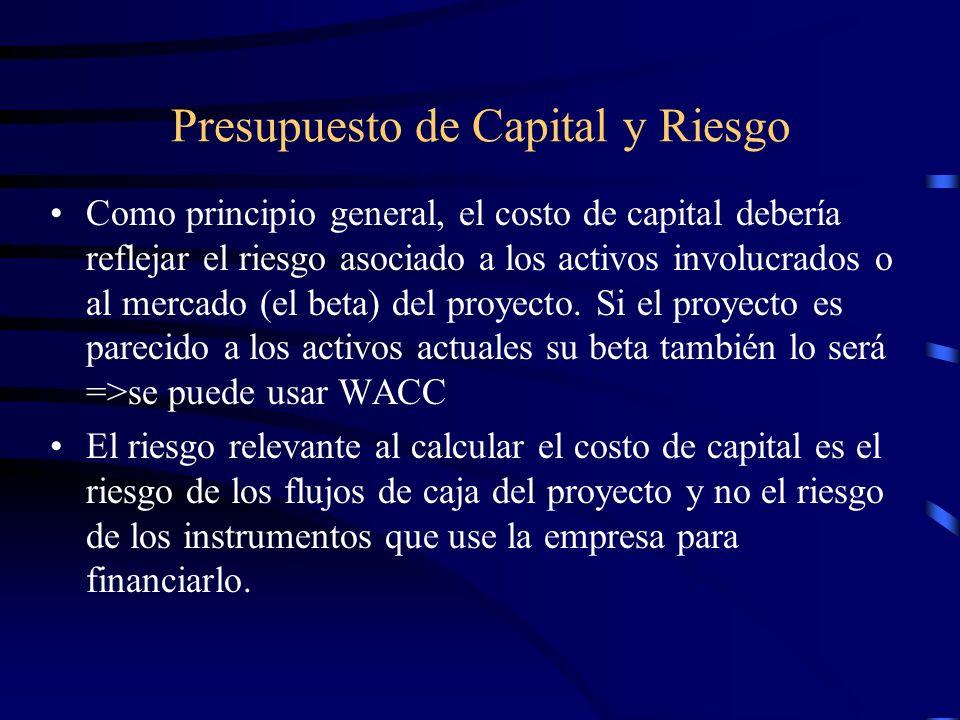 Presupuesto de Capital y Riesgo Como principio general, el costo de capital debería reflejar el riesgo asociado a los activos involucrados o al mercad