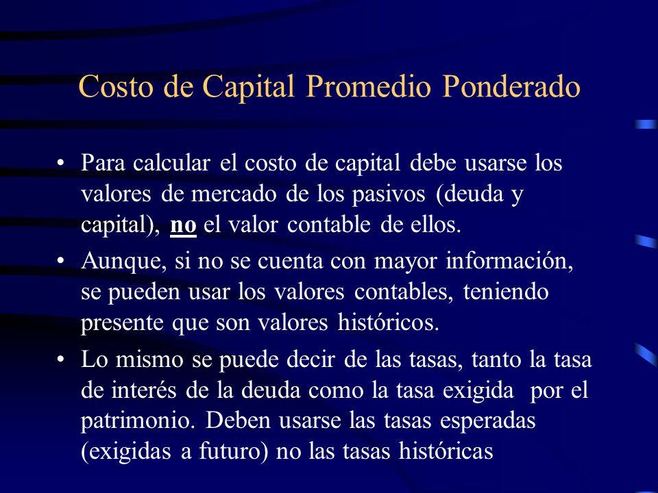 Costo de capital promedio ponderado Respecto a la estructura Deuda-Patrimonio a utilizar en el cálculo del WACC: –Se debe usar la estructura que la empresa se ha fijado como objetivo en el largo plazo.