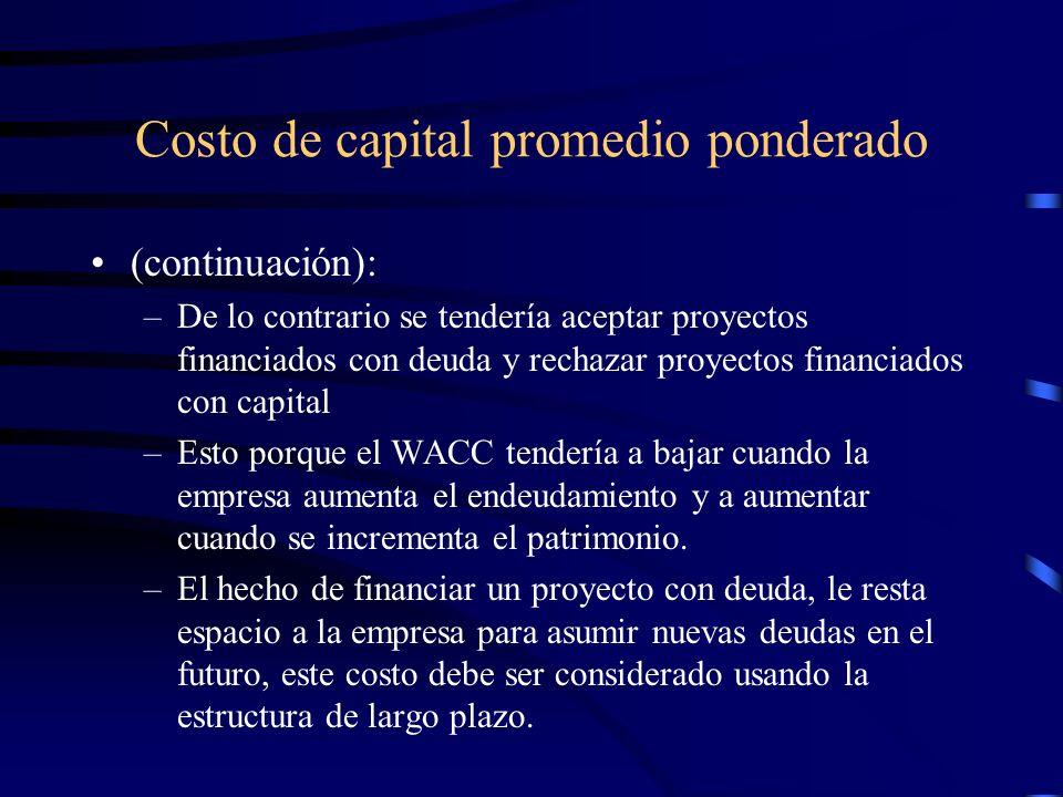 Costo de capital promedio ponderado (continuación): –De lo contrario se tendería aceptar proyectos financiados con deuda y rechazar proyectos financia