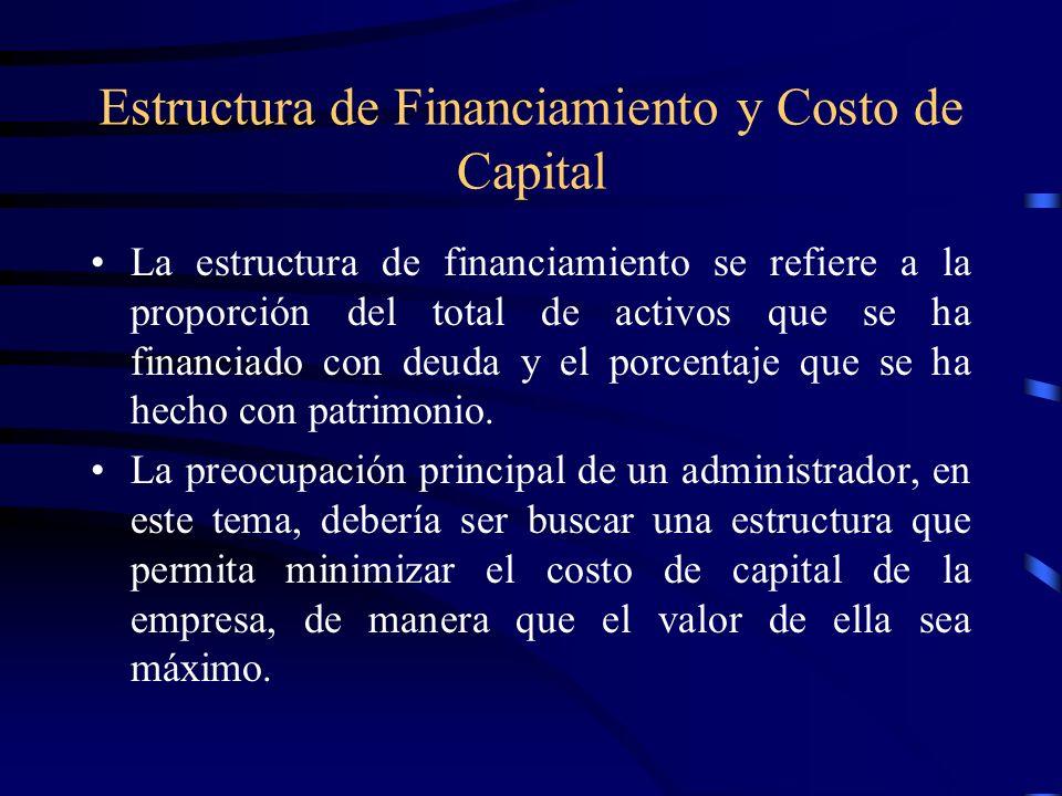 Estructura y valor de la empresa El valor de una empresa se relaciona inversamente con el costo de capital.