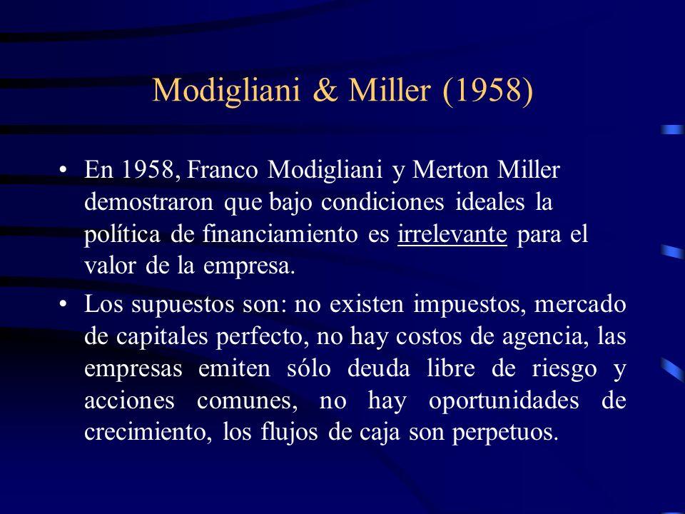 Modigliani & Miller (1958) En 1958, Franco Modigliani y Merton Miller demostraron que bajo condiciones ideales la política de financiamiento es irrele