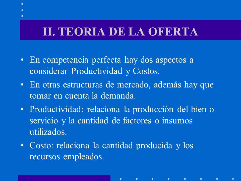 II. TEORIA DE LA OFERTA En competencia perfecta hay dos aspectos a considerar Productividad y Costos. En otras estructuras de mercado, además hay que