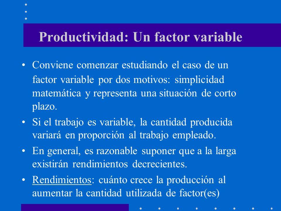 Productividad: Un factor variable Conviene comenzar estudiando el caso de un factor variable por dos motivos: simplicidad matemática y representa una