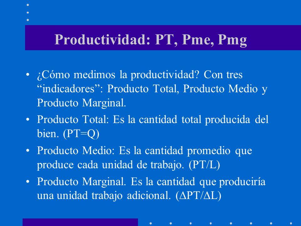 Productividad: PT, Pme, Pmg ¿Cómo medimos la productividad? Con tres indicadores: Producto Total, Producto Medio y Producto Marginal. Producto Total: