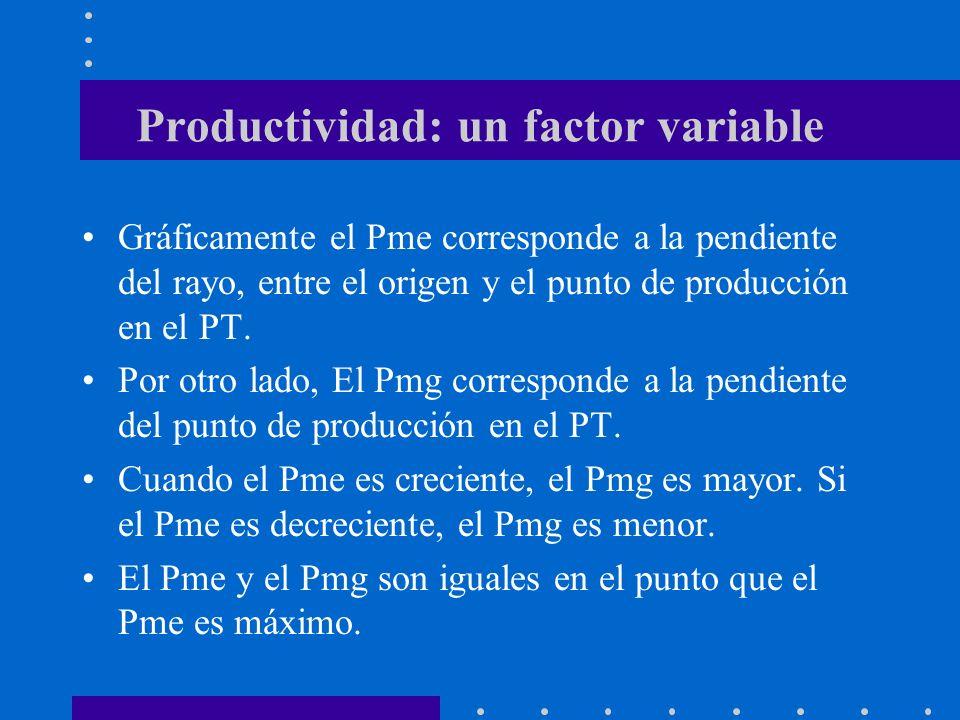 Productividad: un factor variable Gráficamente el Pme corresponde a la pendiente del rayo, entre el origen y el punto de producción en el PT. Por otro