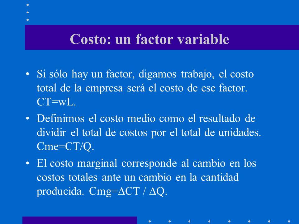 Costo: un factor variable Si sólo hay un factor, digamos trabajo, el costo total de la empresa será el costo de ese factor. CT=wL. Definimos el costo