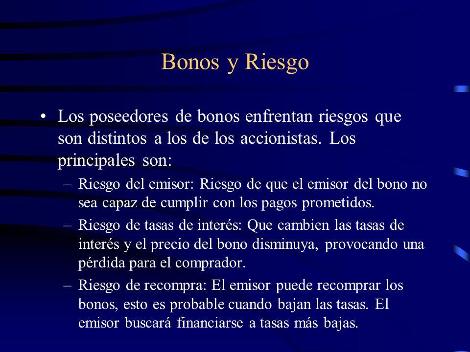 Bonos y Riesgo Los poseedores de bonos enfrentan riesgos que son distintos a los de los accionistas. Los principales son: –Riesgo del emisor: Riesgo d