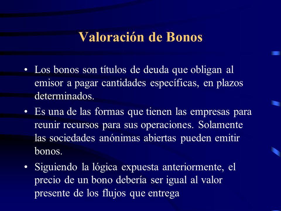 Valoración de Bonos Los bonos son títulos de deuda que obligan al emisor a pagar cantidades específicas, en plazos determinados. Es una de las formas