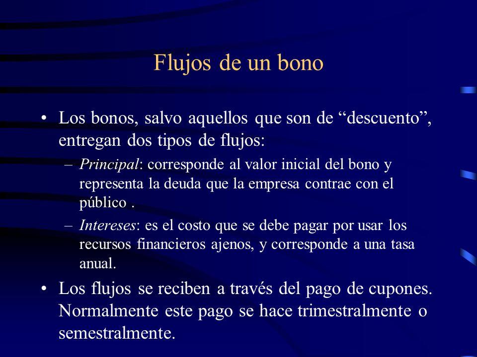 Flujos de un bono Los bonos, salvo aquellos que son de descuento, entregan dos tipos de flujos: –Principal: corresponde al valor inicial del bono y re