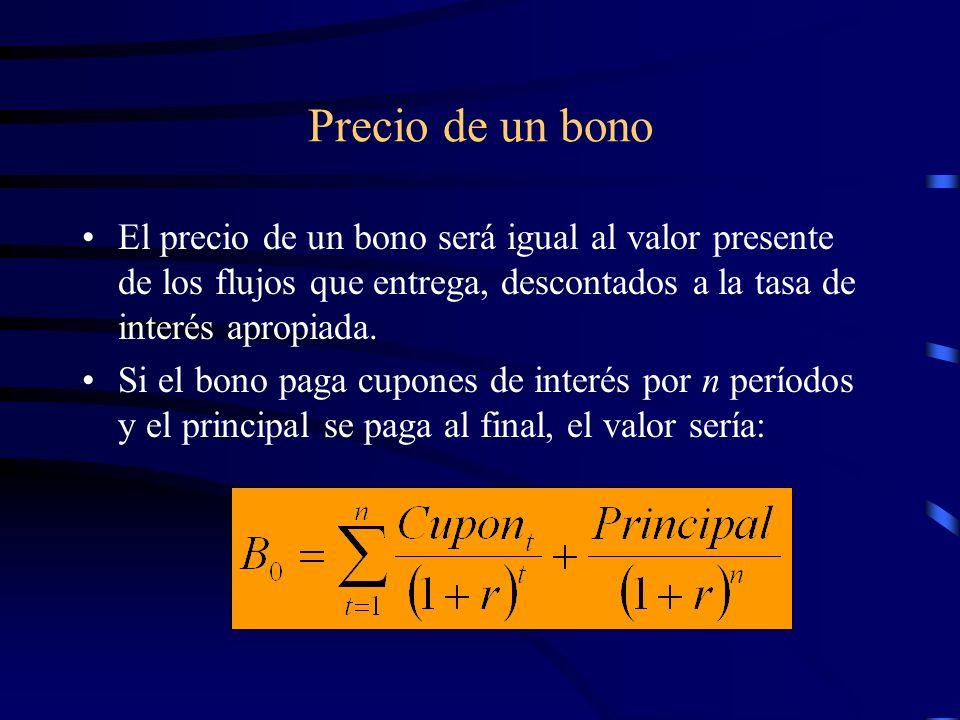 Precio de un bono El precio de un bono será igual al valor presente de los flujos que entrega, descontados a la tasa de interés apropiada. Si el bono
