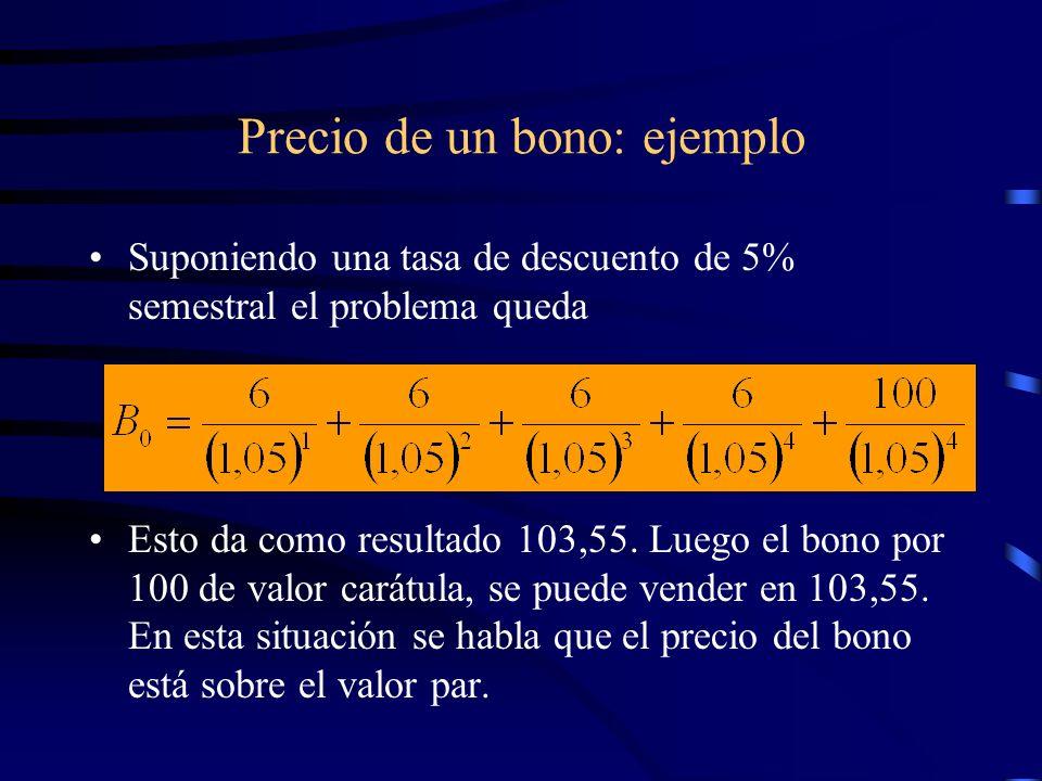 Precio de un bono: ejemplo Suponiendo una tasa de descuento de 5% semestral el problema queda Esto da como resultado 103,55. Luego el bono por 100 de