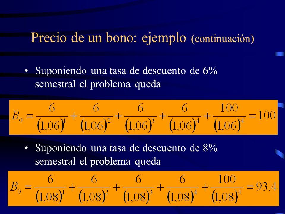 Precio de un bono: ejemplo (continuación) Suponiendo una tasa de descuento de 6% semestral el problema queda Suponiendo una tasa de descuento de 8% se