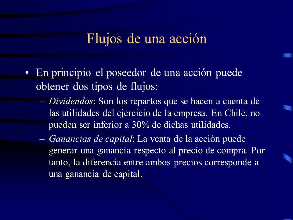 Flujos de una acción En principio el poseedor de una acción puede obtener dos tipos de flujos: –Dividendos: Son los repartos que se hacen a cuenta de