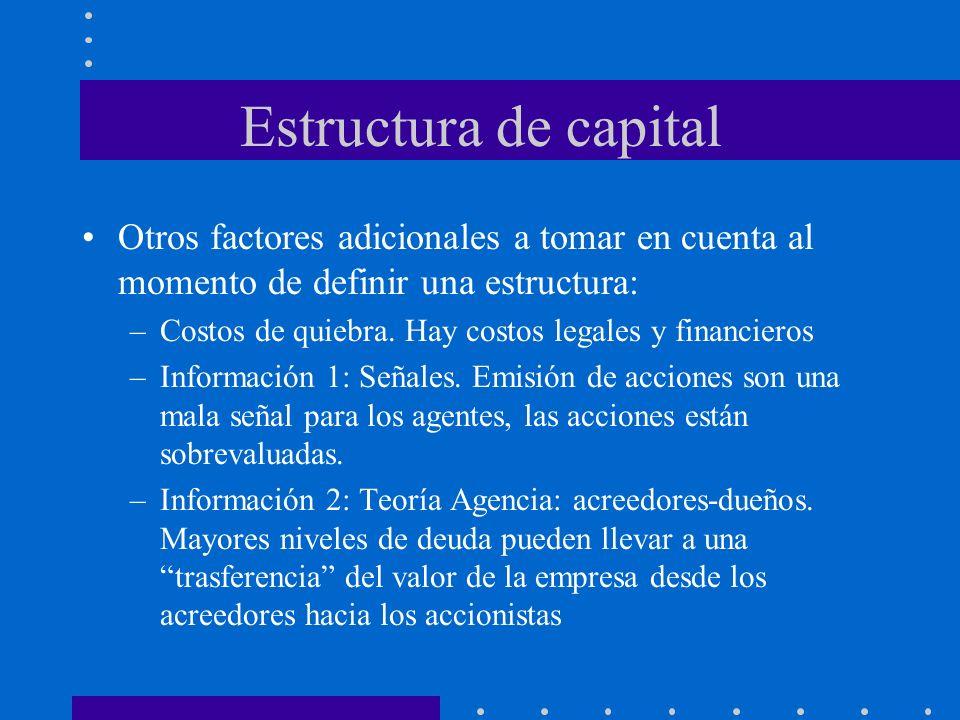 Estructura de capital Otros factores adicionales a tomar en cuenta al momento de definir una estructura: –Costos de quiebra. Hay costos legales y fina