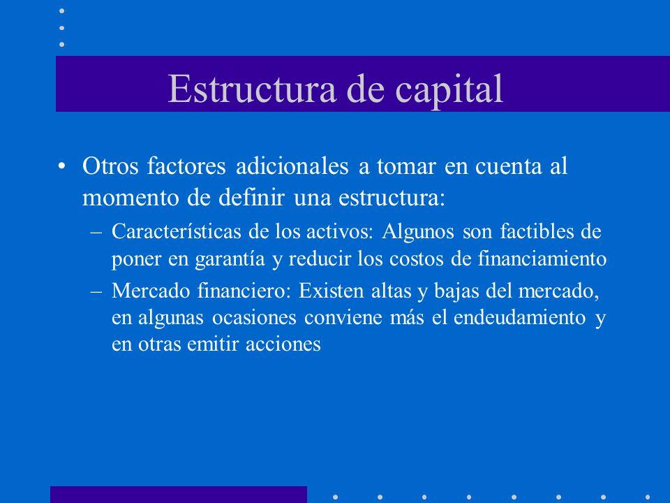 Estructura de capital Otros factores adicionales a tomar en cuenta al momento de definir una estructura: –Características de los activos: Algunos son