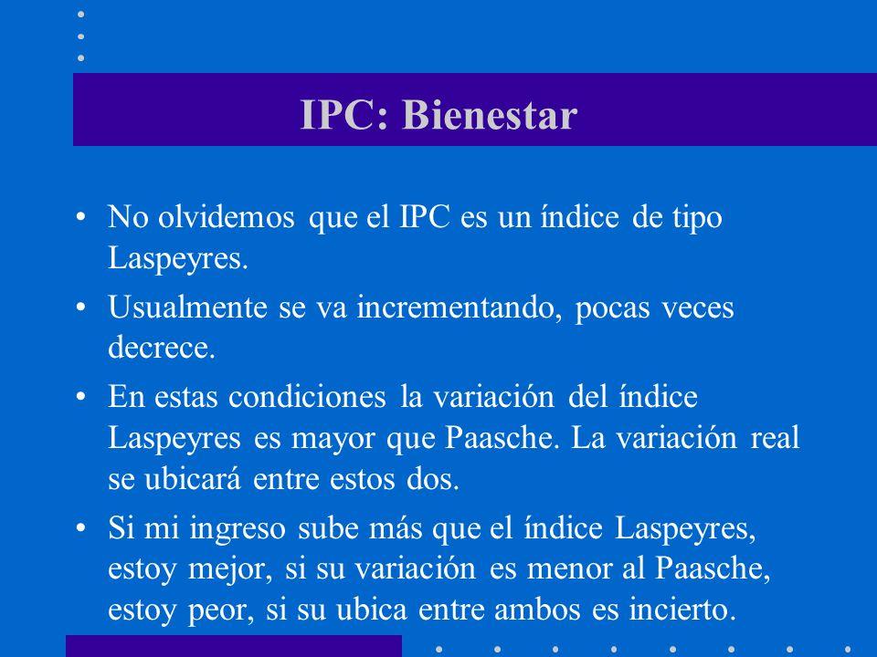 IPC: Bienestar No olvidemos que el IPC es un índice de tipo Laspeyres. Usualmente se va incrementando, pocas veces decrece. En estas condiciones la va
