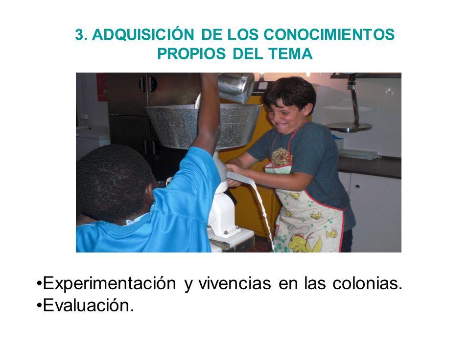 3. ADQUISICIÓN DE LOS CONOCIMIENTOS PROPIOS DEL TEMA Experimentación y vivencias en las colonias. Evaluación.