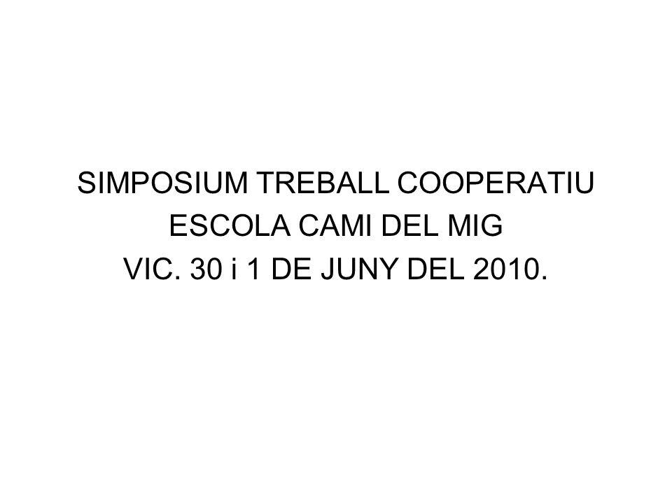 SIMPOSIUM TREBALL COOPERATIU ESCOLA CAMI DEL MIG VIC. 30 i 1 DE JUNY DEL 2010.