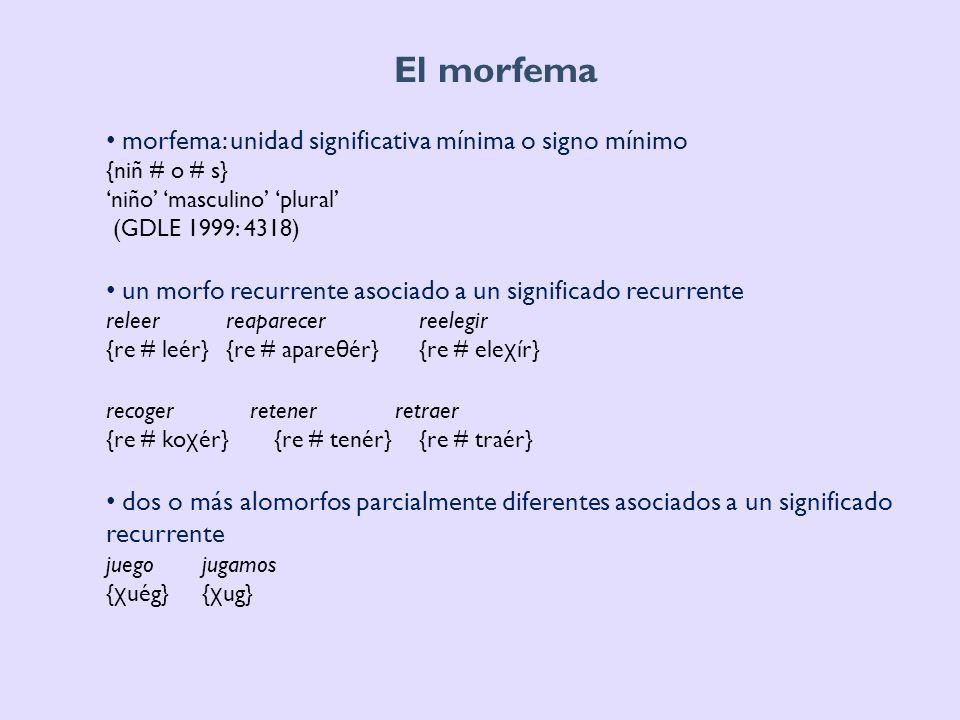 El morfema dos o más alomorfos totalmente diferentes asociados a un significado recurrente éramos somos {ér} {so} un morfo recurrente con significado cero alameda polvareda {alam # éd # a} {polb # ar # éd # a} (GDLE 1999) morfema: unidad mínima del nivel morfológico