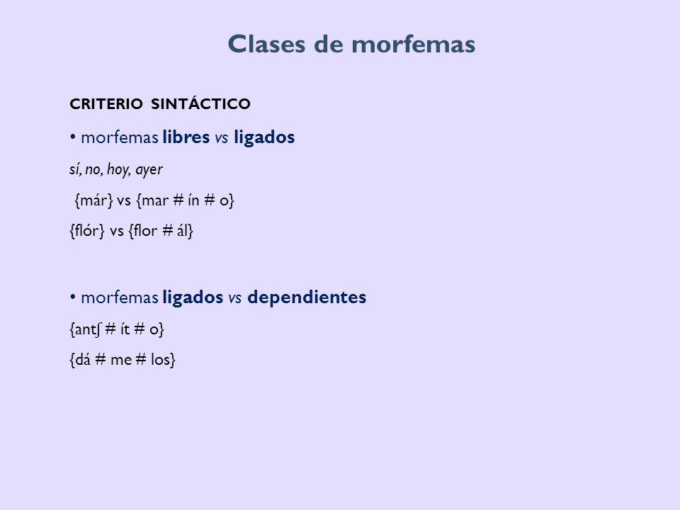 Clases de morfemas CRITERIO DISTRIBUCIONAL si el afijo segmenta la raíz o no si el afijo es un segmento continuo o discontinuo