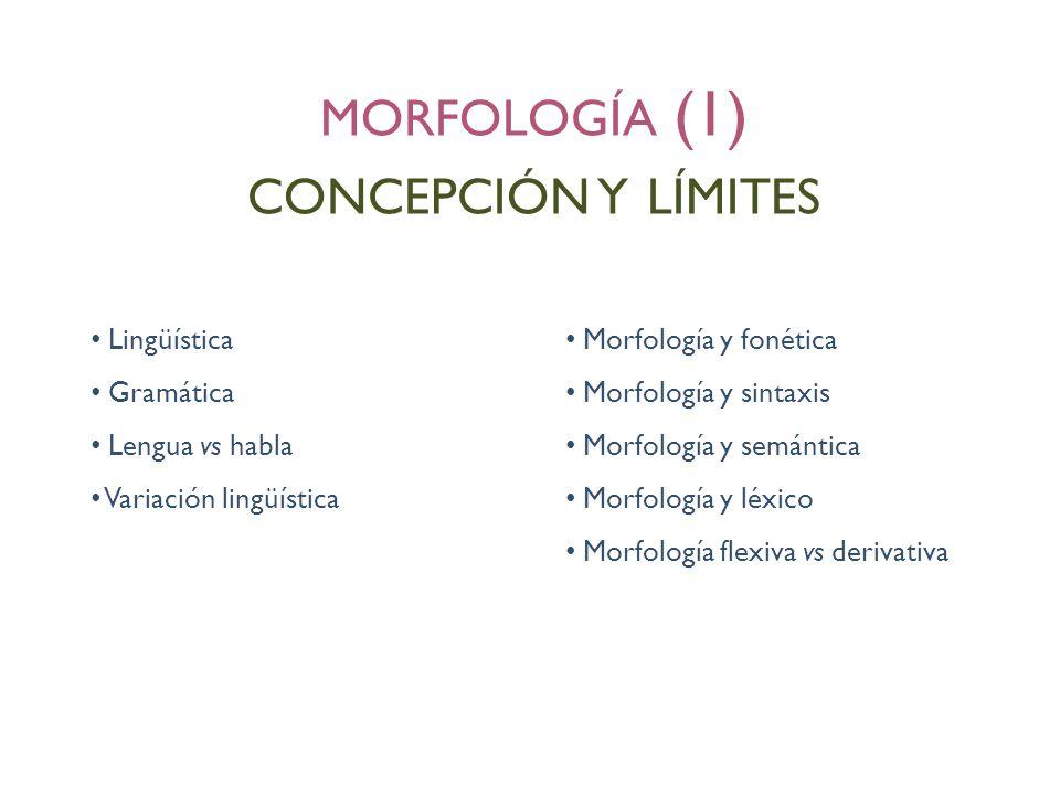 Lingüística Gramática Lengua vs habla Variación lingüística Morfología y fonética Morfología y sintaxis Morfología y semántica Morfología y léxico Mor