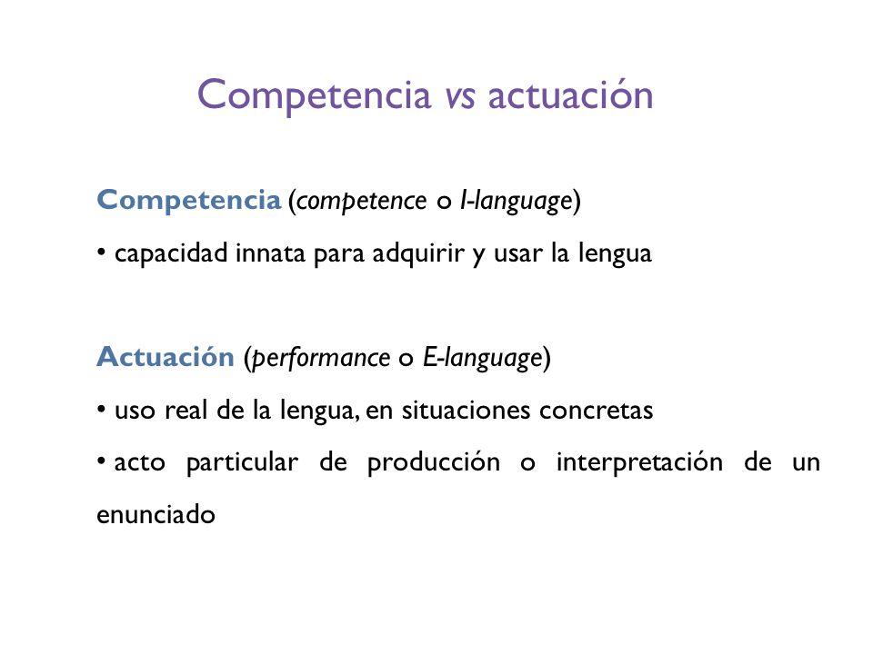 Competencia vs actuación Competencia (competence o I-language) capacidad innata para adquirir y usar la lengua Actuación (performance o E-language) us