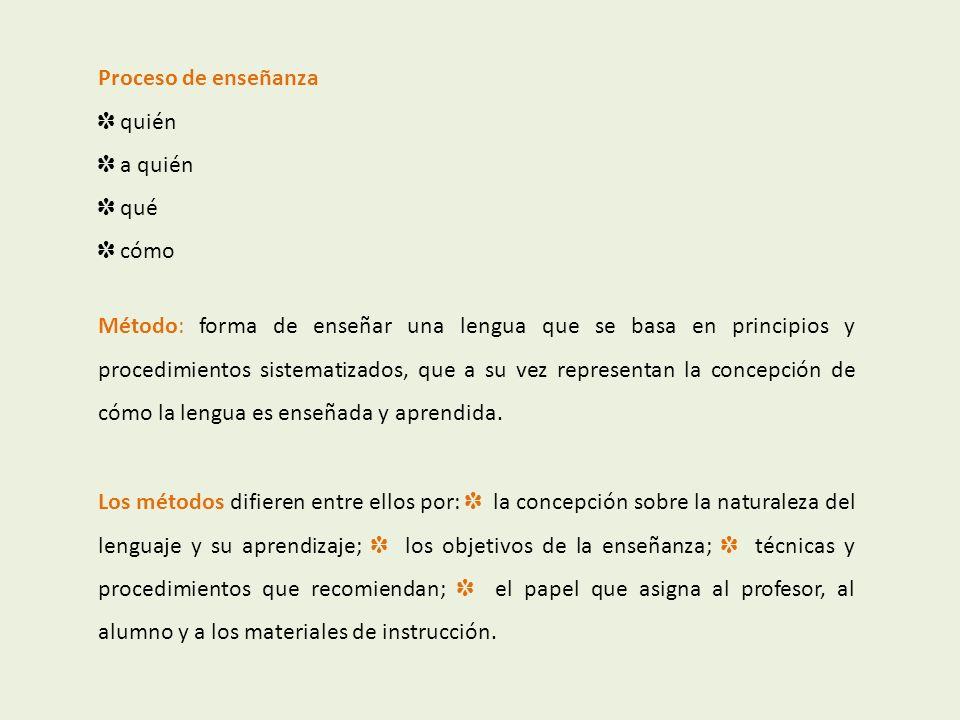 Proceso de enseñanza quién a quién qué cómo Método: forma de enseñar una lengua que se basa en principios y procedimientos sistematizados, que a su ve