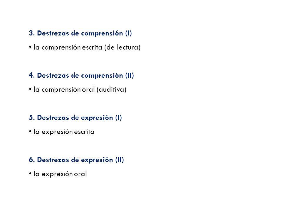 3. Destrezas de comprensión (I) la comprensión escrita (de lectura) 4. Destrezas de comprensión (II) la comprensión oral (auditiva) 5. Destrezas de ex