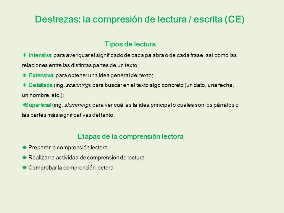 Destrezas: la compresión de lectura / escrita (CE) Tipos de lectura Intensiva: para averiguar el significado de cada palabra o de cada frase, así como