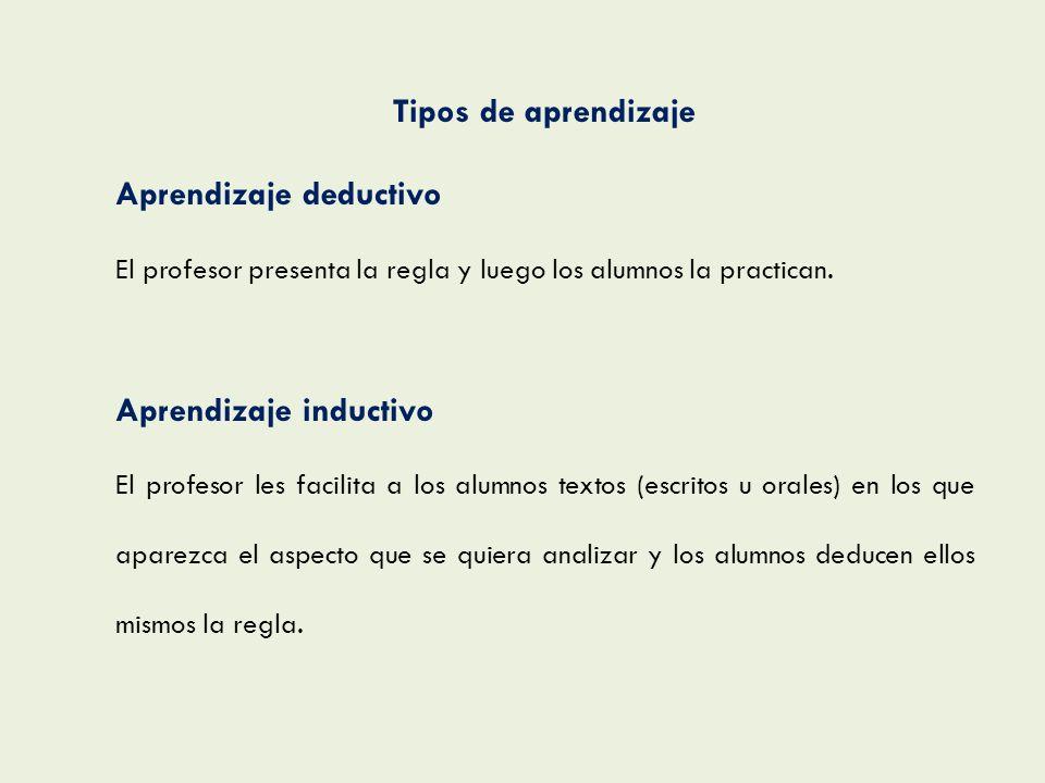 Tipos de aprendizaje Aprendizaje deductivo El profesor presenta la regla y luego los alumnos la practican. Aprendizaje inductivo El profesor les facil
