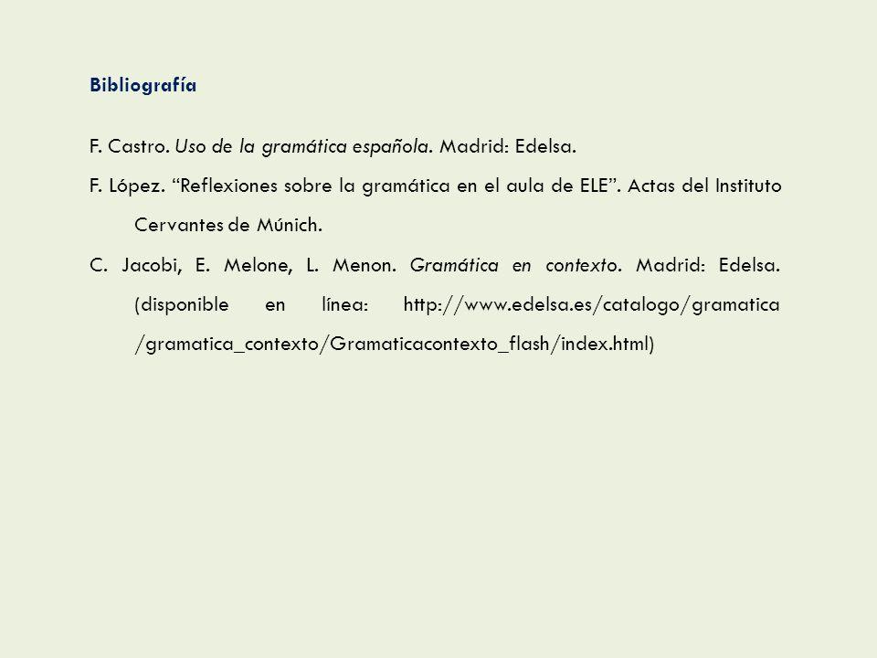 Bibliografía F. Castro. Uso de la gramática española. Madrid: Edelsa. F. López. Reflexiones sobre la gramática en el aula de ELE. Actas del Instituto