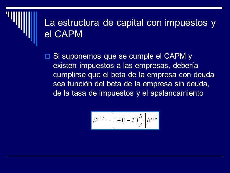 La estructura de capital con impuestos y el CAPM Si suponemos que se cumple el CAPM y existen impuestos a las empresas, debería cumplirse que el beta