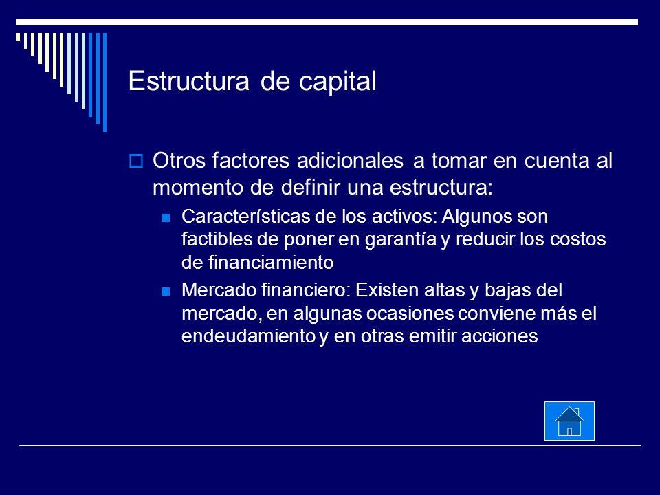 Estructura de capital Otros factores adicionales a tomar en cuenta al momento de definir una estructura: Características de los activos: Algunos son f