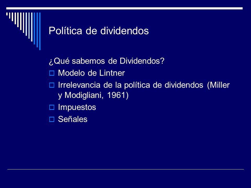 Política de dividendos ¿Qué sabemos de Dividendos? Modelo de Lintner Irrelevancia de la política de dividendos (Miller y Modigliani, 1961) Impuestos S