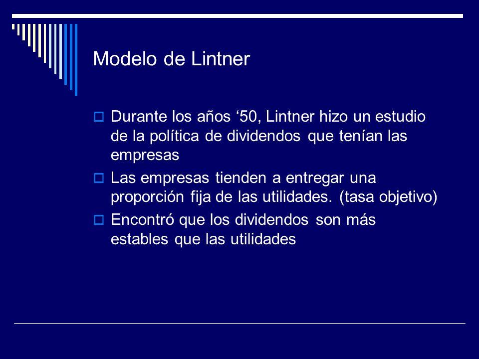 Modelo de Lintner Durante los años 50, Lintner hizo un estudio de la política de dividendos que tenían las empresas Las empresas tienden a entregar un