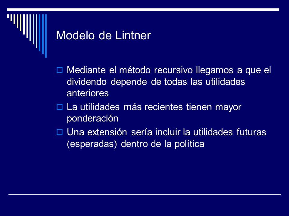 Modelo de Lintner Mediante el método recursivo llegamos a que el dividendo depende de todas las utilidades anteriores La utilidades más recientes tien