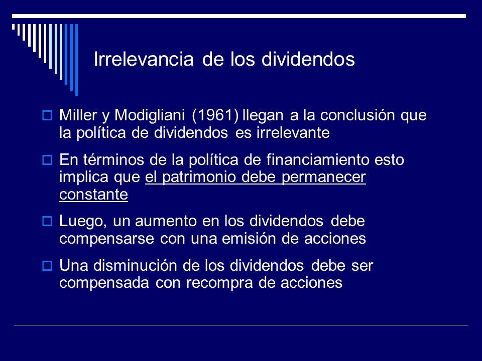 Irrelevancia de los dividendos Miller y Modigliani (1961) llegan a la conclusión que la política de dividendos es irrelevante En términos de la políti