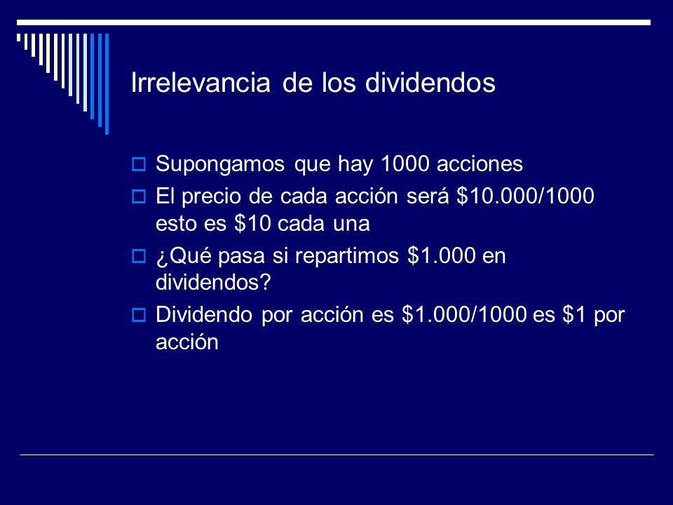 Irrelevancia de los dividendos Supongamos que hay 1000 acciones El precio de cada acción será $10.000/1000 esto es $10 cada una ¿Qué pasa si repartimo