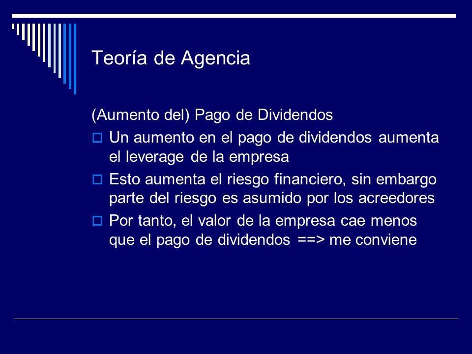Teoría de Agencia (Aumento del) Pago de Dividendos Un aumento en el pago de dividendos aumenta el leverage de la empresa Esto aumenta el riesgo financ