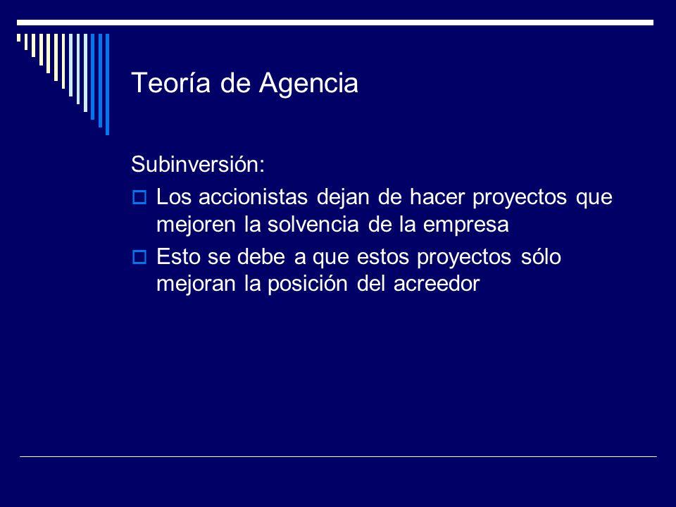 Teoría de Agencia Subinversión: Los accionistas dejan de hacer proyectos que mejoren la solvencia de la empresa Esto se debe a que estos proyectos sól
