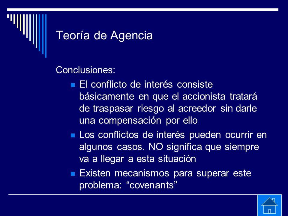 Teoría de Agencia Conclusiones: El conflicto de interés consiste básicamente en que el accionista tratará de traspasar riesgo al acreedor sin darle un