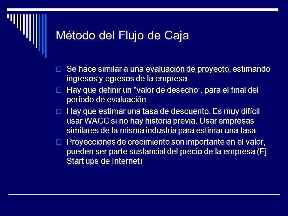 Método del Flujo de Caja Se hace similar a una evaluación de proyecto, estimando ingresos y egresos de la empresa. Hay que definir un valor de desecho