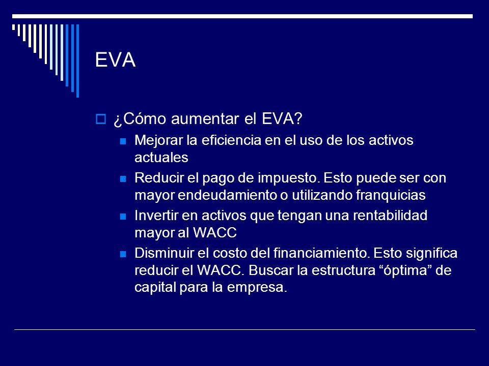 EVA ¿Cómo aumentar el EVA? Mejorar la eficiencia en el uso de los activos actuales Reducir el pago de impuesto. Esto puede ser con mayor endeudamiento