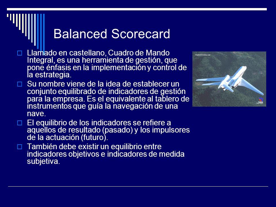 Balanced Scorecard Llamado en castellano, Cuadro de Mando Integral, es una herramienta de gestión, que pone énfasis en la implementación y control de