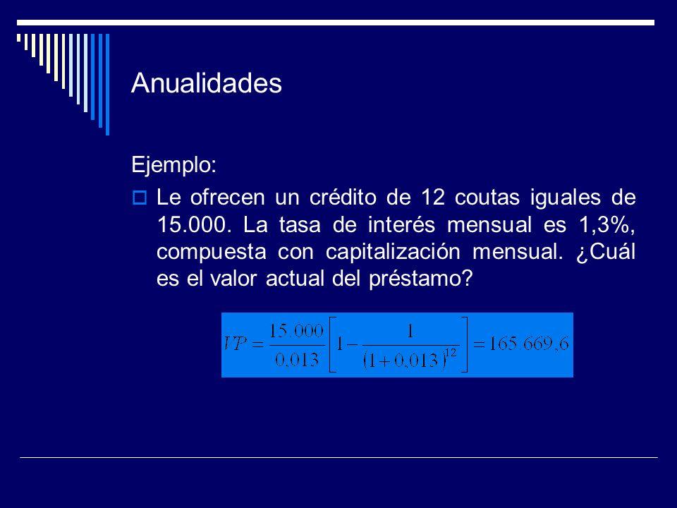 Anualidades Ejemplo: Le ofrecen un crédito de 12 coutas iguales de 15.000. La tasa de interés mensual es 1,3%, compuesta con capitalización mensual. ¿